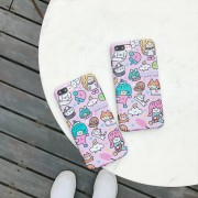 Coque rose silicone souple bande dessinée chat chien iPhone X / XS