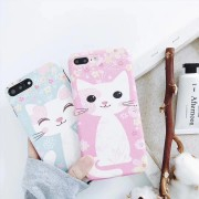 Coque silicone souple rose bleu chat mignon iPhone X / XS