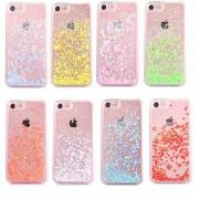 Coque transparente liquide paillettes coeurs orange rose jaune rouge violet iPhone 7 / 8
