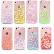Coque transparente liquide paillettes coeurs orange rose jaune rouge violet iPhone 7 / 8