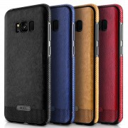 Coque Silicone Antichoc style Cuir Samsung S8 Plus SM-G955F rouge noir bleu