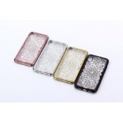 Coque Silicone Diamants 3D strass bords chromés iPhone 5 5S SE noir or rose argent