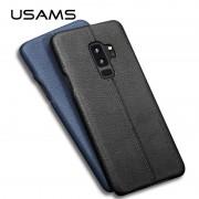 Coque protection cuir avec couture Samsung S9 Plus bleu marine noir camel