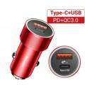 Chargeur rapide pour voiture 12V vers double USB rouge noir 1
