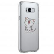 Coque transparente silicone chaton heureux Samsung S8 Plus