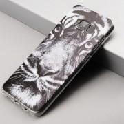 Coque silicone tête de tigre en noir et blanc Samsung S8 Plus