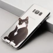 Coque silicone transparente chat noir et blanc Samsung S6 DGE