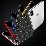 Coque silicone transparente bords chromés iPhone XR