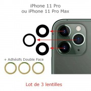 Lot 3 Lentilles remplacement vitre appareil photo iPhone 11 Pro