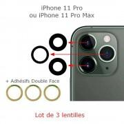 Lot 3 Lentilles remplacement vitre appareil photo iPhone 11 Pro max