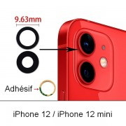 Lot 2 Lentilles remplacement vitre appareil photo iPhone 12 / 12 Mini